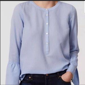 3/$15  LOFT Bell Sleeve Striped Blouse XS light blue